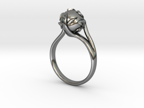 pearl ring in Fine Detail Polished Silver: 8 / 56.75