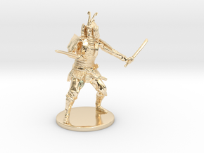 Samurai Miniature in 14k Gold Plated Brass: 1:55
