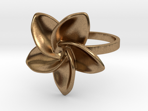 Frangipani Plumeria Ring - 18 mm in Natural Brass
