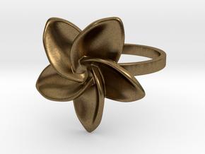 Frangipani Plumeria Ring - 18 mm in Natural Bronze