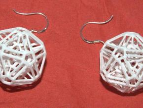 Intricate icosohedron earrings in White Natural Versatile Plastic