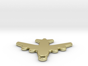 Flat Airplane Charm in 18k Gold Plated Brass