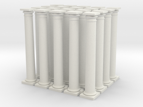 20 Doric Columns 45mm high  in White Natural Versatile Plastic