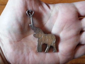 Tusks Pendant in Polished Bronzed Silver Steel