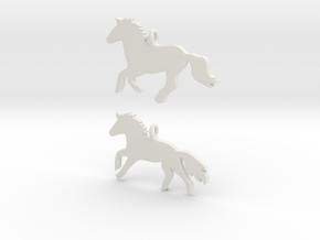 Horses earrings in White Premium Versatile Plastic: 28mm