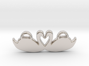 Swans Forming a Heart in Rhodium Plated Brass
