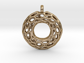 Circle Mesh Pendant 1 in Polished Gold Steel