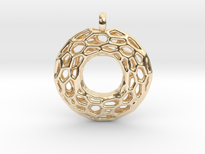 Circle Mesh Pendant 1 in 14k Gold Plated Brass