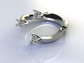 3 Stone dress ring NO STONES SUPPLIED in Fine Detail Polished Silver