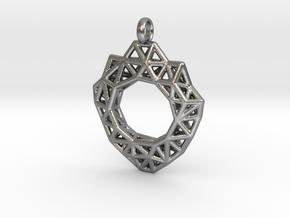 Circle Mesh Pendant 3 in Natural Silver