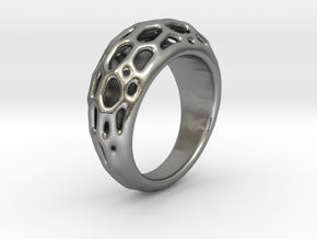 Ring Voronoi #2  in Natural Silver