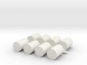 oil drum scale 1/87 (8 pieces) in White Natural Versatile Plastic