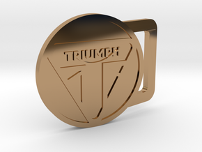 Triumph Motorcycle Round Belt Buckle in Polished Brass