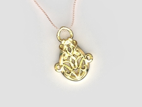 Nouveau Pendant in 18k Gold Plated Brass