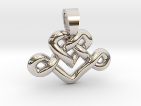Heart knot [pendant] in Rhodium Plated Brass