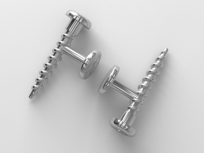 Screw Cufflink in Polished Silver