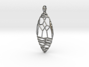 Oval Pendant 2B in Natural Silver
