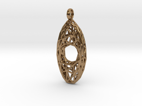 Oval Mesh Pendant 4 in Natural Brass
