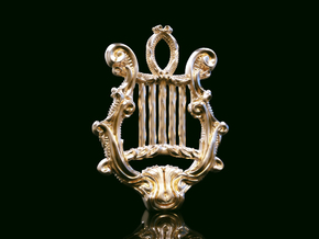 Lyre Pendant in Natural Brass