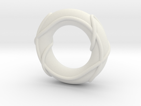 Full Color Linked Trefoils on Torus (Large) in White Natural Versatile Plastic