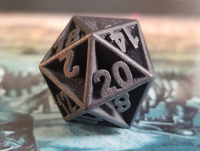 D20 - Plunged Sides in Polished and Bronzed Black Steel