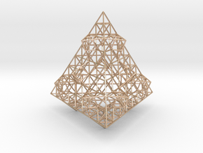 Wire Fractalised Tetrahedron in 14k Rose Gold Plated Brass