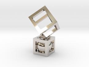 Geometric Pendant #1 in Rhodium Plated Brass