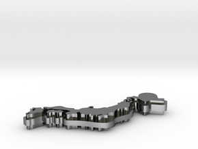 Japan Island Key Chain in Fine Detail Polished Silver