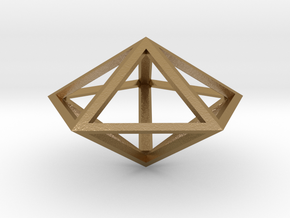 "Pentagonal Bipyramid 1"" in Polished Gold Steel"