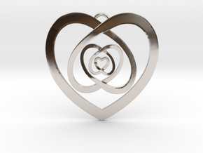Nested Hearts Pendant in Platinum