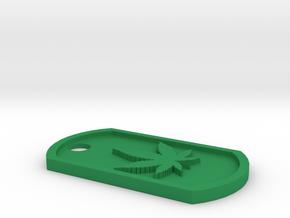 Weed/Marijuana Themed Dog Tag in Green Processed Versatile Plastic