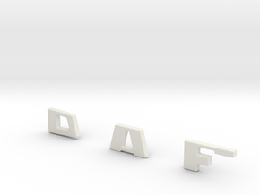 DAF-letters-front in White Natural Versatile Plastic