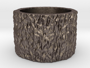 Mesh0491 Ring in Polished Bronzed Silver Steel