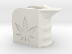 Weed/Marijuana Themed Magwell Grip in White Natural Versatile Plastic