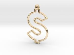 Dollar Symbol Pendant in 14K Yellow Gold