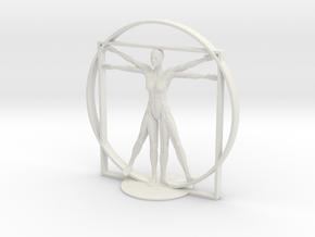 Vitruvian Robotic Woman in White Natural Versatile Plastic