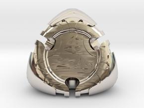 Art Nouveau d4 in Rhodium Plated Brass