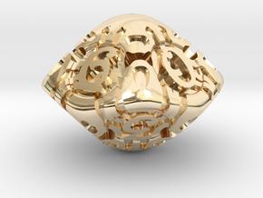Art Nouveau d10 in 14k Gold Plated Brass