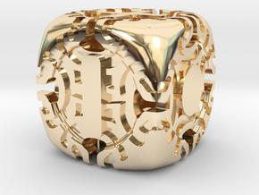Fudge Art Nouveau d6 in 14k Gold Plated Brass