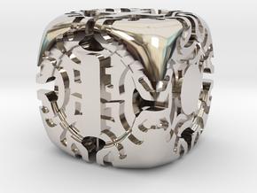 Fudge Art Nouveau d6 in Rhodium Plated Brass