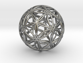 """Icosasphere v2 3"""" in Natural Silver"""