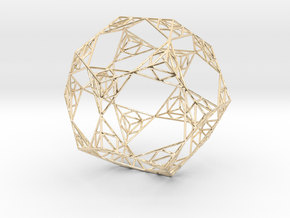Sierpinski Wire Dodecahedron in 14k Gold Plated Brass