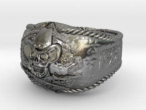 western skull ring in Polished Silver: 8 / 56.75