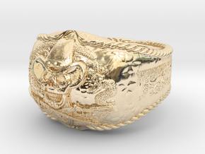 western skull ring in 14K Yellow Gold: 8 / 56.75