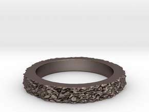 Mesh0481 Ring- narrow in Polished Bronzed Silver Steel