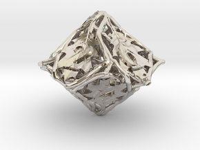 Botanical Die10 (Oak) in Rhodium Plated Brass