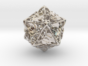 Botanical d20 Ornament in Rhodium Plated Brass