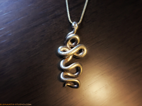 Kundalini Serpent Pendant 4.5cm in Natural Brass