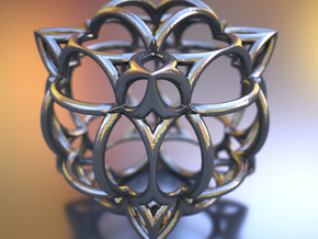 Fractal artefact NE5 in Polished Bronzed Silver Steel