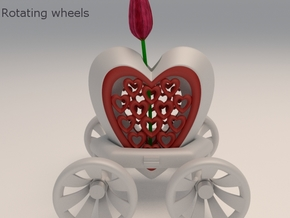 Heart Carriage Flower Holder in White Strong & Flexible